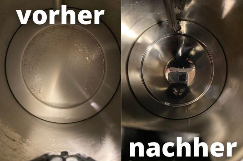 Wasserkocher entkalken mit Zitronensäure vorher-nachher